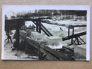 Winnipeg cutting ice blocks on Red River (Lyall) RP postcard Manitoba Canada