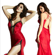 LONGUE ROBE LINGERIE ROUGE 38 40 FEMME NUISETTE SEXY UNDERWEAR WOMAN DONNA