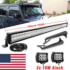 "52"" 700W Combo Led Light Bar+4Inch 18W +Mount Bracket For Jeep Wrangler TJ 97~06"