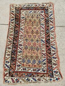 """Antique 19th c. Caucasian Design Rug All Natural Dyes 2' 7"""" x 4' 1"""" Distressed"""