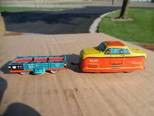 2 Vtg Made in Western Germany Tin Windup Toys Trolly & Trailer G-E 297