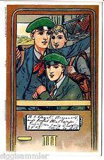 Studenten-AK 1903 Drei Studenten/Schüler im Zug Künstler Studentika 1509498
