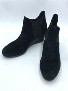 Crocs 9 Leigh Wedge Chelsea Boot Black Suede Slip On Womens