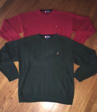 Vtg Chaps Pullover Sweater Lot Of 2 Red And Green XL Chaps Hand Made Sweaters