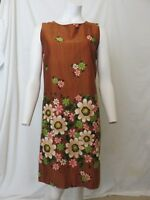 Vintage 60s All Around Floral Hawaiian Originals Aloha Dress Size M Bark Cloth