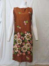 Vtg 60s Brown Floral Aloha Authentic Hawaiian Originals Dress Size M 100% Cotton