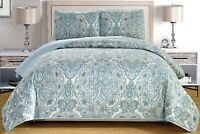 Pale Blue Grey Paisley Quilt Reversible FULL Size Coverlet Set Bedspread