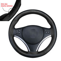Black Real Leather Car Truck Auto Steering Wheel Cover With Needles and Thread