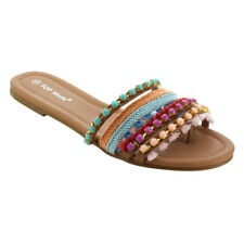 Top Moda Women's Bead Slip On Retro Flat Sandals TAN Size 8