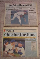 NOLAN RYAN 7TH NO HITTER 1991 DALLAS & FORT WORTH NEWSPAPERS LOT OF 2 NEAR MINT