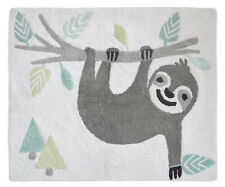 Tropical Jungle Turquoise Girls Sloth Accent Floor Rug or Bath Mat by Sweet Jojo