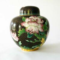 Vintage Chinese Enamel Cloisonne Ground Covered Ginger Jar - Black Gold Floral
