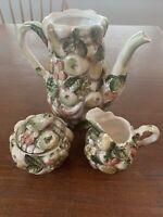 Vintage Lefton Fruits of Italy Teapot Majolica Tea Pot/Creamer/Sugar Set 1175