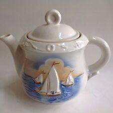 Tea Pot Coffee Vintage Porcelier China 3 Raised Sailboats 1940s
