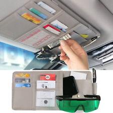 Car Sun Visor Organizer Auto Interior Pocket  Pen Card Change Storage Gray