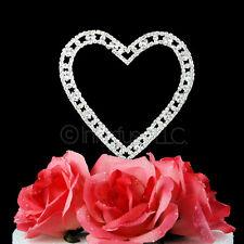 4.25 Inch Crystal Rhinestone Silver Heart Wedding Cake Topper