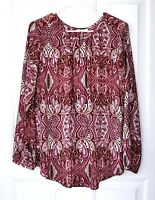Charter Club Top Size L Red Paisley Blouse Semi-Sheer Long Sleeve Peasant Top