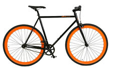 Atir Cycle Single Speed Fixed Gear Road Bike Black and Orange 50cm Fixie