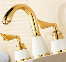 Two Handles Widespread Bathroom Vanity Sink Lavatory 3-Hole Elegant Faucet, Gold
