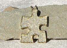 Autism Awareness Swarovski Gold Rhodium Puzzle Piece Pendant Necklace WOW