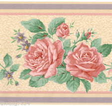 Pink Peach Roses Cream Purple Stripe Green Leaf Vine Garland Wall paper Border