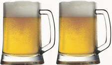 Set of Two Pasabahce Small 0.5l Handled Glass Jar Mug Tumbler for Drinking Beer