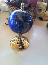 Globe 3 inch World Semi Stone countries gold metal stand collectible 6 tall