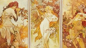 Alfons Maria Mucha 4 panels depicting SEASONS OF YEAR SPRING SUMMER FALL WINTER