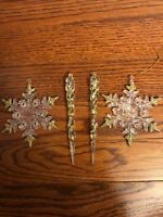 Vintage LOT 4 Christmas Ornaments Clear Plastic Gold Glitter Icicles Snowflakes