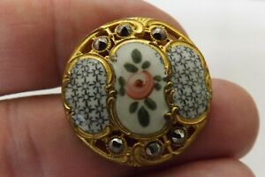 RARE ANTIQUE FRENCH ENAMEL AND CUT STEEL BUTTON GOOD CONDITION 2.75CMS (3387)