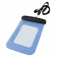 Black Blue Plastic Water Resistant Pouch Bag w Neck Strap for iPhone 4 3G 3GS