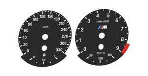 TACHOSCHEIBEN - BMW E90 E91 E92 E93 - M3 - MPH zu km/h