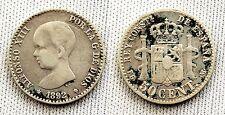 VARIANTE. Alfonso XIII 50 centimos 1892*2-2 VF/MBC. Plata. Rara. alguna mancha