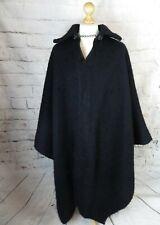 Vintage mid century heavy black llama poncho cape cloak S M L XL dramatic gothic