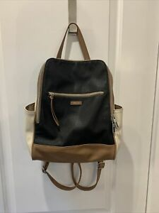 Relic By Fossil Backpack Purse. Black cream brown