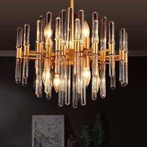 TZOE Modern Crystal Chandelier, 8 Light Round Pendant Brass Metal Clear Glass