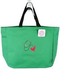 Stethoscope & Heart Monogram Green Bag Medical Tote Nurse Doctor Paramedic Gift