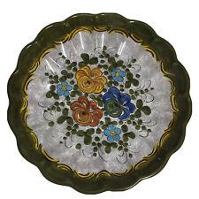 Deruta Ceramica Green Floral Bowl - Made In Italy - 30cm -  Orange Yellow Blue