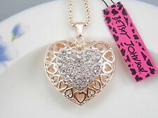 Betsey Johnson cute inlaid Crystal hollow love heart pendant necklace # B207