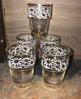 Vintage Hand Blown Painted Shot Glass Daisy Flowers, Metallic Gold Trim Lot Of 5