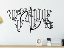 Compass World Map Metal Wall Hanging,Metal Grid Wall Panel,Modern Metal Wall Art