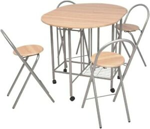 Small Kitchen Dining Table and Chairs Folding Stool Breakfast Drop Leaf Table