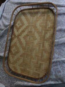 Rattan Bamboo Tray Wicker Tiki Lap TV Serving Platter 19x13 Vintage