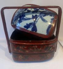 More details for antique chinese tiffin dabba carrier porcelain red lacquer blue porcelain vintag