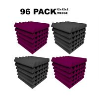 Acoustic Foam 12x12x2 wedge 96 Pack Purple Gray Combo Soundproof tiles recording