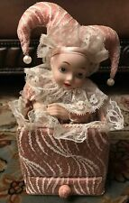 """San Francisco Music Box Co Vintage Pink Clown *Jester"""" music box with drawer"""