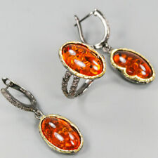 Handmade Jewelry SET Natural Amber 925 Sterling Silver Ring Size 8/R114205