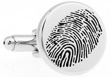 Fingerprint Cufflinks CSI Forensics Police Wedding Fancy Gift Box Free Ship USA