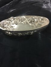 Godinger Silver Plated Jewelry Box Oval With Roses