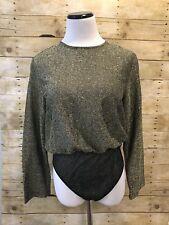 Vintage Victorias Secret Long Sleeved Bodysuit 90s Sz Large Sheer Gold Black